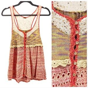 Free People Crochet Sequin Button Ruffle Tank Top